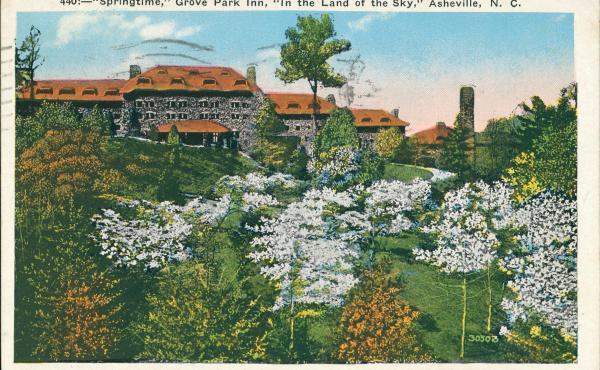 An archival postcard of the Grove Park Inn in Asheville, N.C., where much of the novel Even As We Breathe is set.