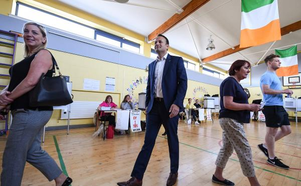 Leo Varadkar, Ireland's prime minister, or taoiseach, leaves a Dublin polling station after casting his vote in Friday's referendum. Varadkar has campaigned aggressively for repealing Ireland's abortion ban.