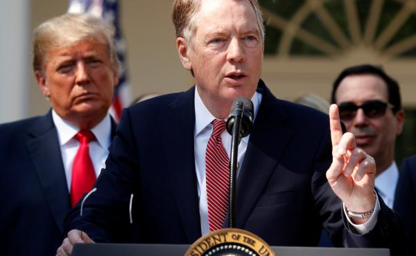 U.S. Trade Representative Robert Lighthizer discusses the United States-Mexico-Canada Agreement as President Trump and Treasury Secretary Steven Mnuchin look on Oct. 1, 2018. Lighthizer is now the chief U.S. negotiator in trade talks with China.