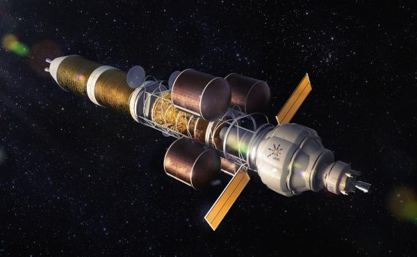 An artist's depiction of a nuclear powered spacecraft of the sort that might one day carry people to Mars. Nuclear could allow for faster journeys, according to the experts.