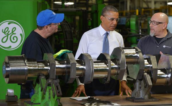 President Obama tours a General Electric gas engines factory in Waukesha, Wis., on Jan. 30, 2014. GE has recently said it would shift hundreds of jobs abroad because of the Export-Import Bank's inability to help finance international deals.
