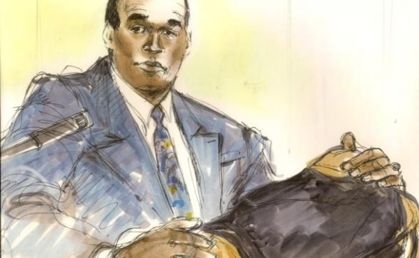 Over the past 25 years, Mona Shafer Edwards has depicted some of the most famous trials in Los Angeles, including Rodney King and O.J. Simpson (above).