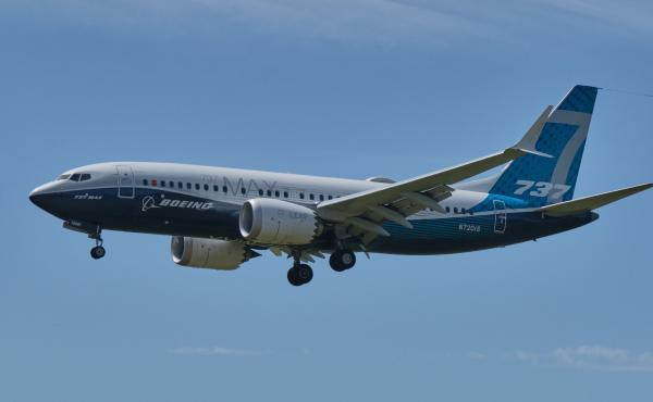 A Boeing 737 Max aircraft lands following a FAA re-certification flight on June 29, 2020 in Seattle, Wash. The 737 MAX has been grounded for commercial flights since March 2019 following two crashes.