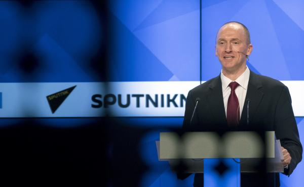 Carter Page, a former foreign policy adviser to then-presidential candidate Donald Trump, speaks at a news conference at the RIA Novosti news agency in Moscow in December. Page said he was in Moscow to meet with businessmen and politicians.