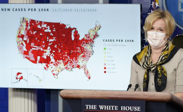 Dr. Deborah Birx, the White House's coronavirus response coordinator, speaks during a briefing with the coronavirus task force at the White House on Thursday. The Food and Drug Administration has granted emergency use authorization for a second antibody t