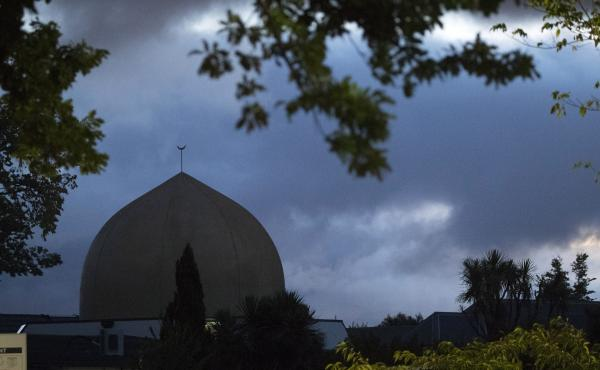 Al Noor mosque is shaded by clouds in Christchurch, New Zealand, on Tuesday.