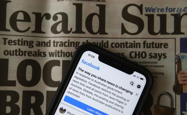 An illustration of a message seen on Facebook mobile last month, when Facebook banned publishers and users in Australia from posting and sharing news content in a dispute over a new law requiring tech platforms to pay for it.