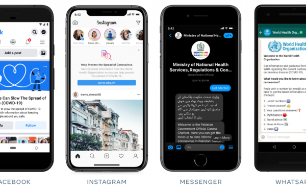 Facebook says it's directing users across its platforms to more reliable information from established public health organizations in order to prevent the spread of false content.