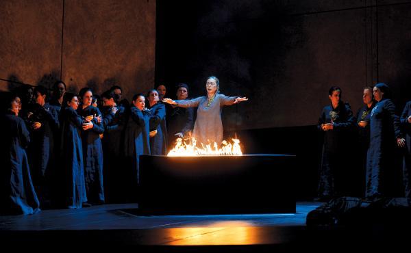 A scene from Francisco Negrin's production of Verdi's Il Trovatore, shown in a performance from the Opera de Monte Carlo.