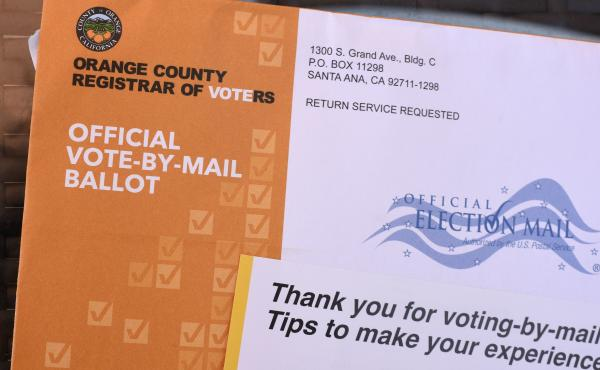 A mail-in ballot is displayed in Laguna Niguel, Calif.