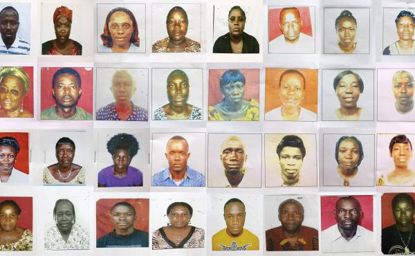 Theses 32 health workers are among the 360-plus who sacrificed their lives in the fight against Ebola. Their names are listed below. The photos are displayed at the Liberian Midwives Association in Monrovia.