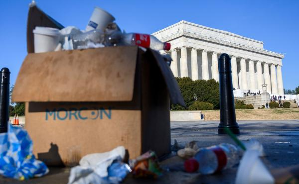 A box of trash overflows near the Lincoln Memorial in Washington, D.C., this week as some government services have been stopped during a partial government shutdown.