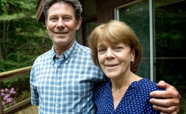 Bea and Doug Duncan outside their home in Natick, Mass. The coaching they got from the Community Reinforcement and Family Training program, they say, gave them tools to help their son Jeff stick to his recovery from drug use. He's 28 now and has been sobe