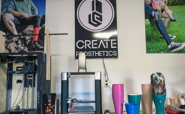 Create Prosthetics' 3-D printers give anyone in the world access to a design operation in Lake Placid, N.Y., that, for $500, creates a personalized cover for a prosthetic device.
