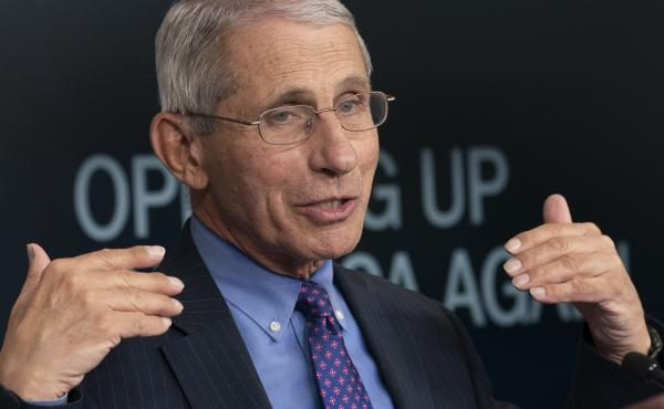 Dr. Anthony Fauci, director of the National Institute of Allergy and Infectious Diseases, speaks during a news conference at the White House on April 16.
