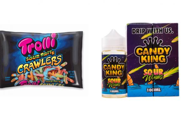 E-Liquid (right) with labeling that resembles kid-friendly candy (left).