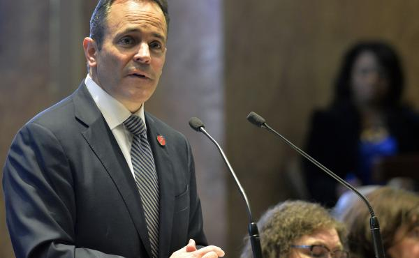 Kentucky Gov. Matt Bevin, a Republican, speaks to state legislators in 2018. Bevin, who is running for re-election this fall, asked the federal government to impose work requirements on many people who receive Medicaid. Bevin's predecessor, a Democrat, di