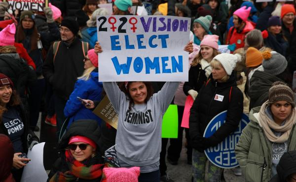 People participate in the Women's March as they protest against the U.S. President Donald Trump in Washington, United States on January 18, 2020.