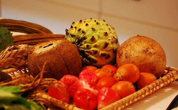 Brazilian fruits, including jambu and tapereba (lower right), displayed for a gathering of chefs in Sao Paolo.