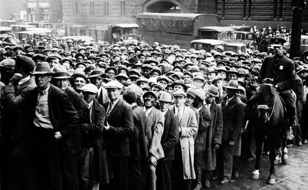 Unemployed people gather outside City Hall in Cleveland, Ohio, on Oct. 9, 1930 during the Great Depression.