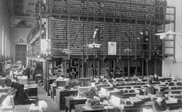 Above, the Library of Congress Card Division, 1919