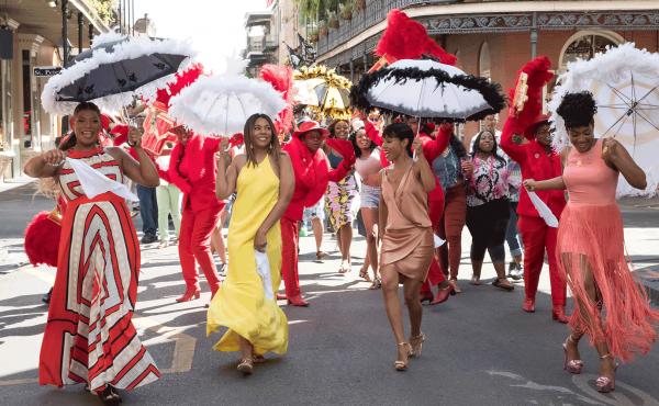 Sisterhood on parade (L to R): Sasha (Queen Latifah), Ryan (Regina Hall), Lisa (Jada Pinkett Smith) and Dina (Tiffany Haddish) step out in Girls Night.