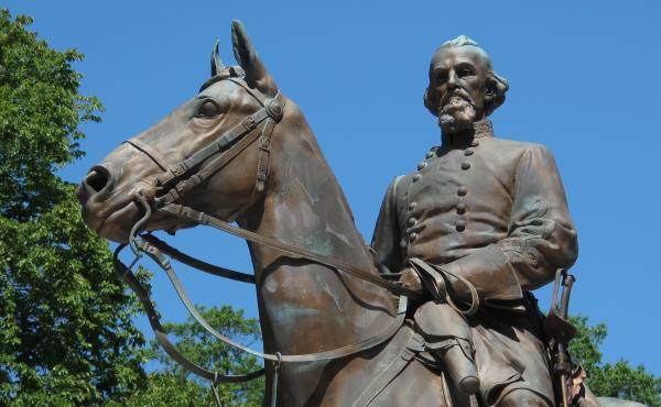 This statue of Confederate Gen. Nathan Bedford Forrest was removed from a park in Memphis, Tenn., on Wednesday night, following the sale of the park to a nonprofit group.