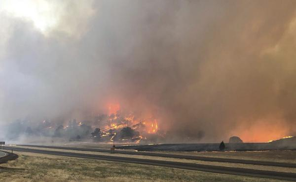 The Klamathon Fire burns this week in Hornbrook, Calif., just south of the Oregon border. At least one person was killed in the fire.