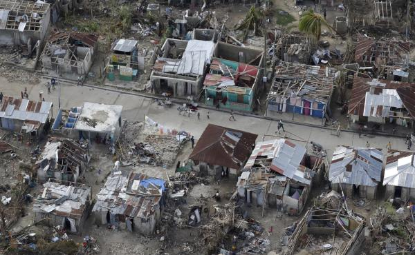 These houses in southwestern Haiti were damaged or destroyed by Hurricane Matthew in October. Matthew was the most serious natural catastrophe in North America in 2016.