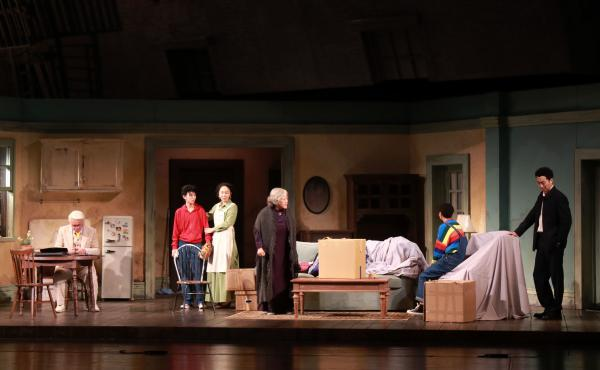 The cast of the Beijing People's Art Theatre production of A Raisin in the Sun rehearse onstage this past August.
