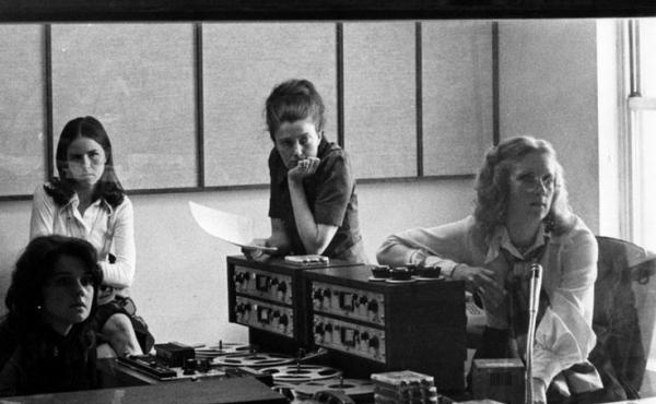 (From left) Renee Chaney, visitor Louisa Parker, Linda Wertheimer and Kris Mortensen, in the first All Things Considered studio in 1972.