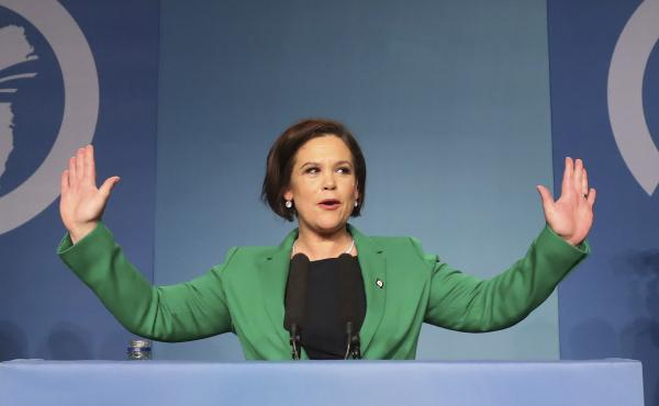 Mary Lou McDonald acknowledges the applause of delegates after she was elected as Sinn Fein's president at the party's special conference in Dublin on Saturday.