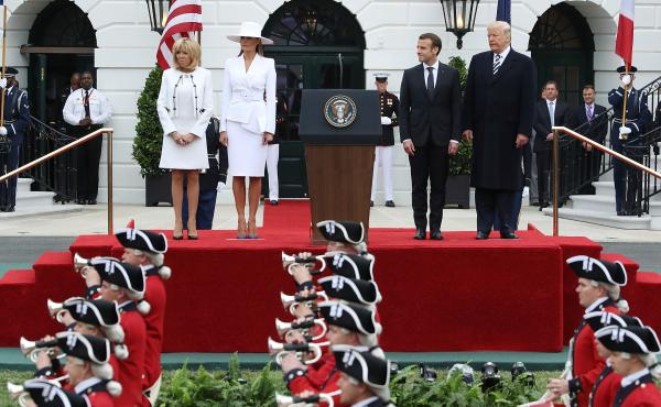 Brigitte Macron, first lady Melania Trump, French President Emmanuel Macron and President Trump attend a state arrival ceremony at the White House on Tuesday.