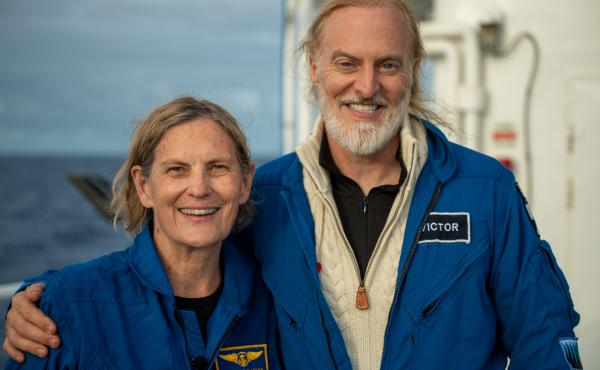 Kathy Sullivan and pilot Victor Vescovo, seen after their dive to Challenger Deep.