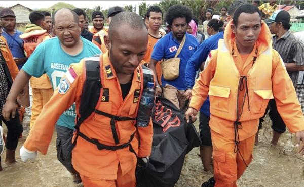 Rescuers are recovering victims and searching for survivors of flash floods in Papua province, Indonesia.