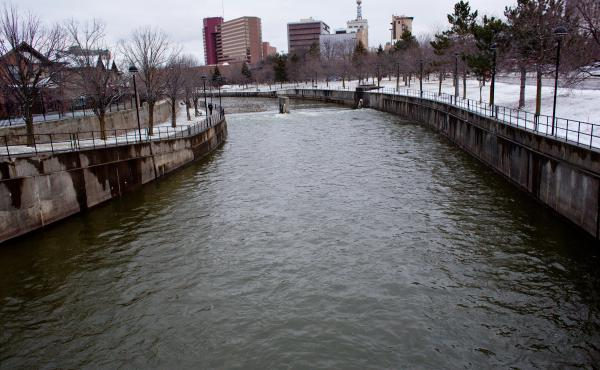 The Flint River is pictured in downtown Flint, Mich., on Feb. 4. The city's water problems began when it switched to using the Flint River for its supply in 2014. They were exacerbated by government officials' failure to disclose and stop the leaching of