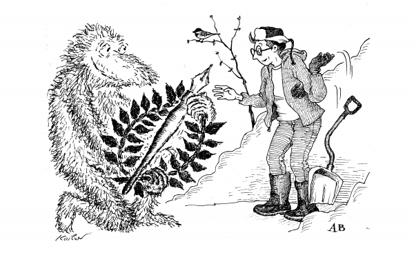 A drawing completed by both Ed Koren and Alison Bechdel, the second and third cartoonist laureates of Vermont, respectively. In the image, Koren presents laurels and a large pen to Bechdel.