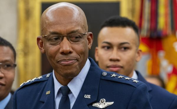Gen. Charles Q. Brown Jr. smiles at a White House swearing-in ceremony for the post of chief of staff of the Air Force.