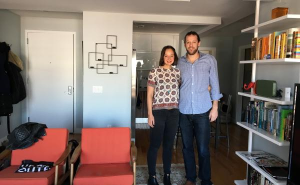 Robin Bunevich and Alex Rivas in the Astoria, Queens, apartment they own. The unmarried couple set an agreement for how to handle the sale of their apartment if they break up.