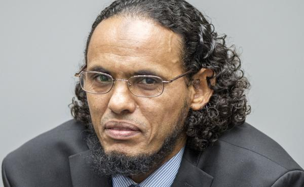 Ahmad al-Faqi al-Mahdi looks on during an appearance at the International Criminal Court in The Hague, Netherlands, on Aug. 22, at the start of his trial on charges of involvement in the destruction of historic mausoleums in the Malian desert city of Timb