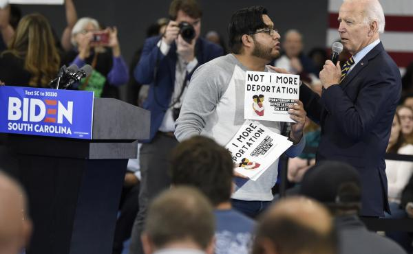 While campaigning in November 2019, Joe Biden talked with a protester about his stance on deportations at a town hall at Lander University in Greenwood, S.C. The Biden administration says it will rein in Immigration and Customs Enforcement, starting with