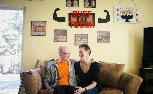 Ben and Tara Stern relax at home in Essex, Md. Ben was diagnosed with glioblastoma in 2016. After conventional treatment failed to stop the tumor, Ben tried an experimental drug.