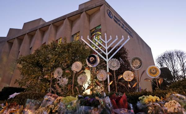 A menorah is installed outside the Tree of Life Synagogue in Pittsburgh on the first night of Hanukkah.The synagogue was the site of a mass shooting in October. It was one of a number of tragedies and revelations that made 2018 a difficult year for the ci