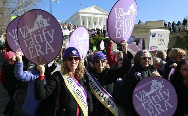 Equal Rights Amendment supporters demonstrate outside the Virginia State Capitol in Richmond on Jan. 8.