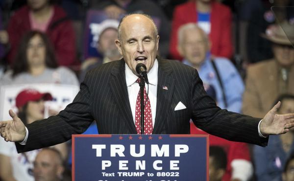 Former New York City Mayor Rudy Giuliani speaks during a Trump campaign rally on Oct. 13  in Cincinnati.