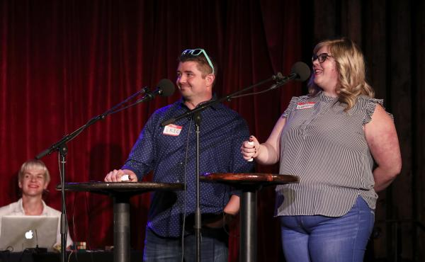Contestants Eric Bosworth and Annabel Jones appear on Ask Me Another at the Bell House in Brooklyn, New York.