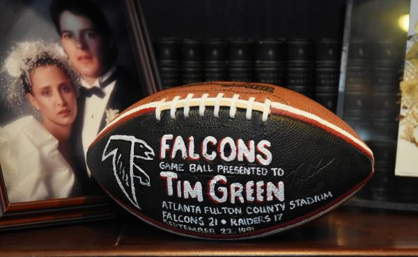 A Falcons game ball that was presented to Tim in 1991.
