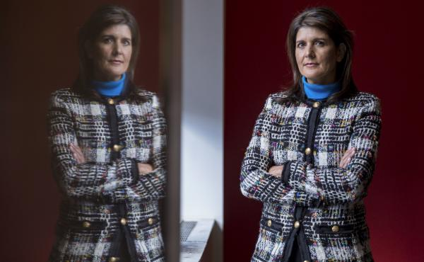 "In an interview with NPR about her new book, former Ambassador to the U.N. Nikki Haley said she made an effort to avoid ""toxic"" and ""trashy"" Washington — and that she'll campaign for President Trump in 2020. Above, she poses for a portrait at NPR studio"