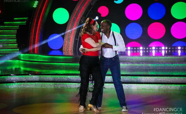 S. Fitzgerald Haney, former U.S. ambassador to Costa Rica, with his wife, Andrea, on that country's Dancing with the Stars. He is donating his stipend to a local cancer institute.