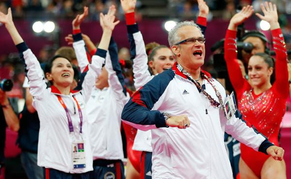 Former USA Gymnastics coach John Geddert is seen above during the 2012 Summer Olympics in London.